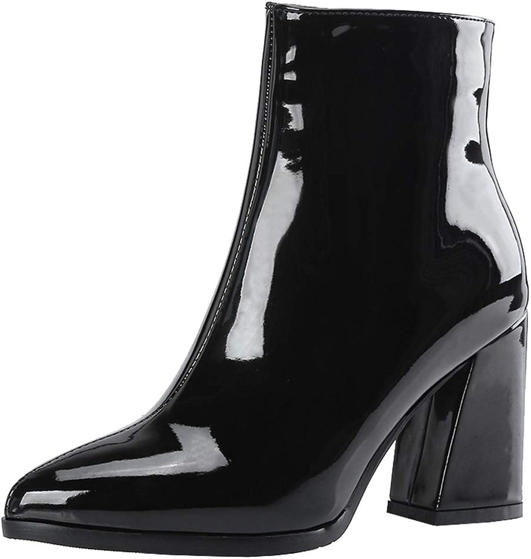 Melady Women Fashion Metallic Ankle Boots Heels Zipper