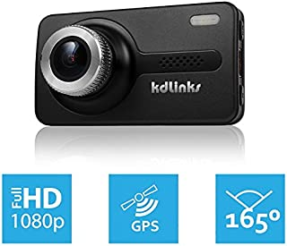 KDLINKS X1 GPS-Enabled Full HD 19201080 165 Degree Wide Angle Dashboard Camera Recorder Car Dash Cam with G-Sensor