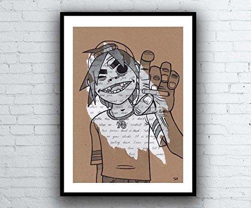 2D Gorillaz Portrait Drawing with Feel Good Inc. Lyrics - Signed Giclée Art Print - Kunstdruck A5 A4 A3 sizes
