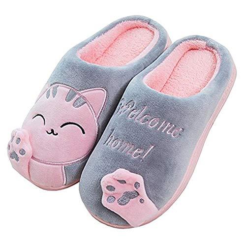 Invierno Cálido Zapatillas de Estar por Casa Interior para Niñas patrón Gatos 35 EU (Tamaño de Etiqueta 25) Gato-Rosa