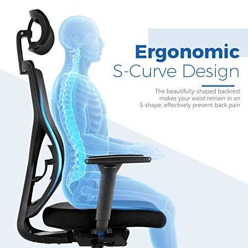 MOLENTS Ergonomic Office Chair High Back Desk Chair with Thick Seat Cushion,Rolling Mesh Computer Gaming Chair with Adjustable Headrest,3D Armrest,Sliding Seat,Executive Swivel Chairs for Home Office