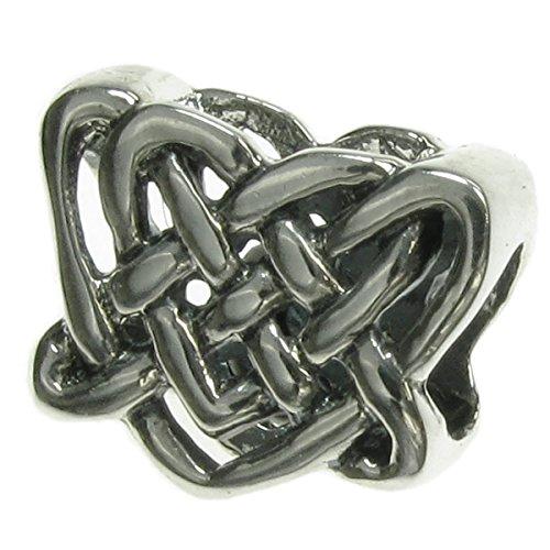 Abalorio de plata de ley 925 con nudo celta para pulseras europeas