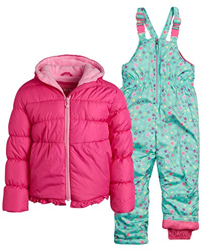 Wippette Girls Heavyweight Insulated Ski Jacket and Snow Bib Snowsuit Set, Size 4, Pink