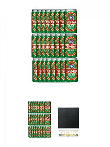 Tsingtao China Bier 24 x 0,33 Liter in Dose inklusive Dosenpfand + Tsingtao China Bier 24 x 0,33 Liter in Dose inklusive Dosenpfand + Schiefer Glasuntersetzer eckig ca. 9,5 cm Durchmesser