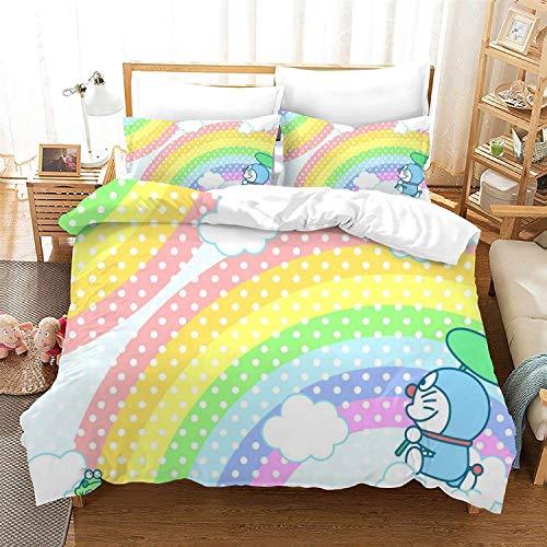 POPCC Doraemon: Doraemon Rainbow Background Bedding Sets, Duvet Cover Sets, for Otaku and Anime Fan's Room 3Pcs 1 Quilt Cover & 2 PillowcasesEU Twin Single(135x200cm)