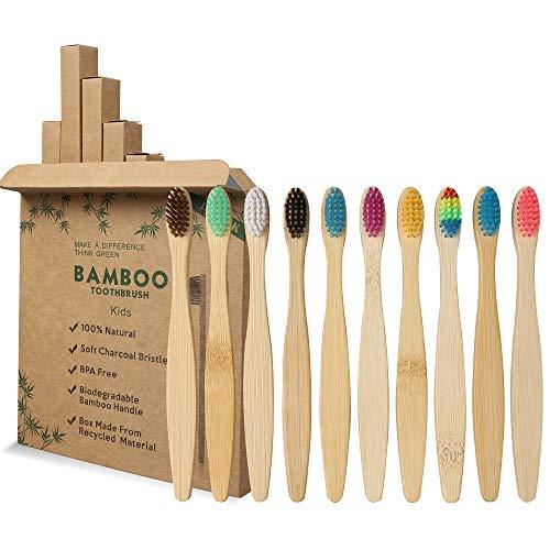 GeekerChip Lot de 10 Brosse À Dents En Bambou Pour Enfants,10 couleurs brosse a dent bambou,Poils Doux Naturels,Écologiques Et Biodégradables