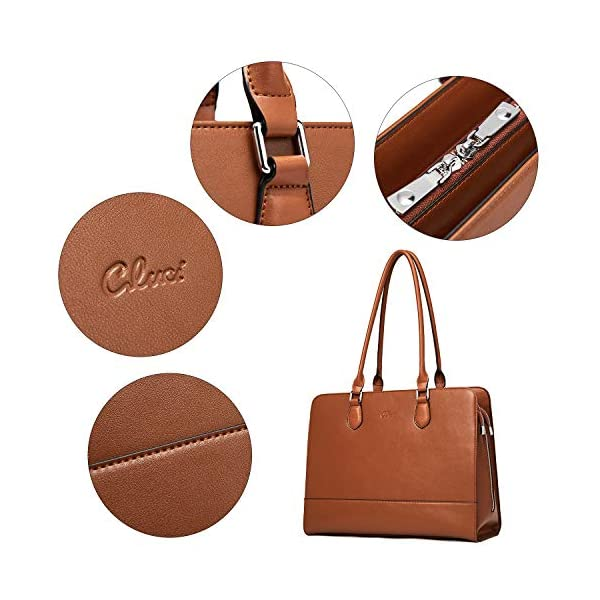 CLUCI Genuine Leather Briefcase for Women 15.6 Inch Laptop Vintage Large Ladies Business Work Shoulder Bags 5