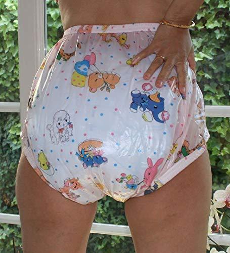 PVC Adult Baby Inkontinenz Windelhose Gummihose rosa kindermotiv gary (2XS)