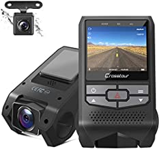 Dash Cam Front and Rear Crosstour Dual Dash Camera for Cars 1080P Mini DVR Car Driving Recorder with Parking Monitor, Motion Detection, Loop Recording, Super Night Vision(CR600)