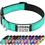 TagME Reflective Padded Personalized Dog Collars for...