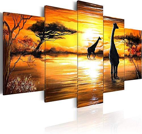 BAIMM 5 Leinwand Malerei Moderne Landschaft Stream Giraffe Kunst Penthouse Malerei Familie Wohnzimmer dekorative Wand dekorative Malerei