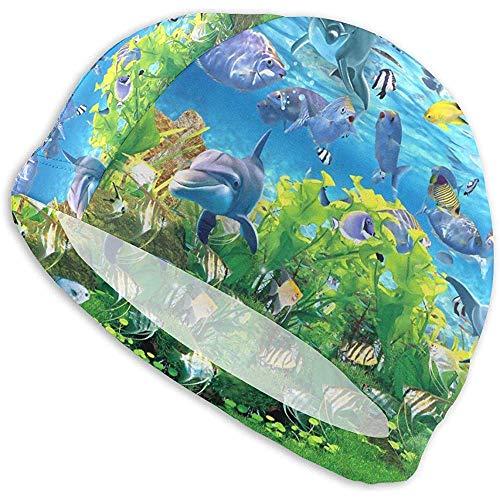Elxf Abstrakter Aquarium-Hintergrund der Fisch-3D Erwachsene Badekappen, hohe Elastizität, Keine Deformations-Verwendung, UVschutz, Schwimmen-Badekappe