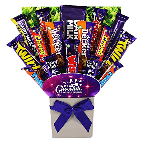 Cadbury Chocolate Lovers Bouquet Gift Hamper with 16 Bars of Full-Sized Chocolate in Presentation Postal Box