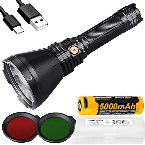 Fenix HT18 1500 Lumen 1011 Yards Long-Range Rechargeable Hunting Light and LumenTac Battery Case