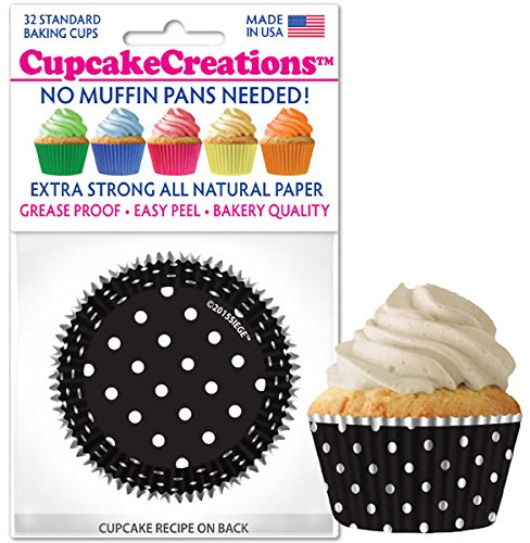 Black & White Polka Dots Baking Liners, 32 Count by Cupcake Creations