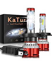 KATUR H1 Bombillas led Faros Chips CSP Mini Design Super Bright 12000LM Kit de conversión de Faros a Prueba de Agua 60W 6500K Xenon White-2 años de garantía