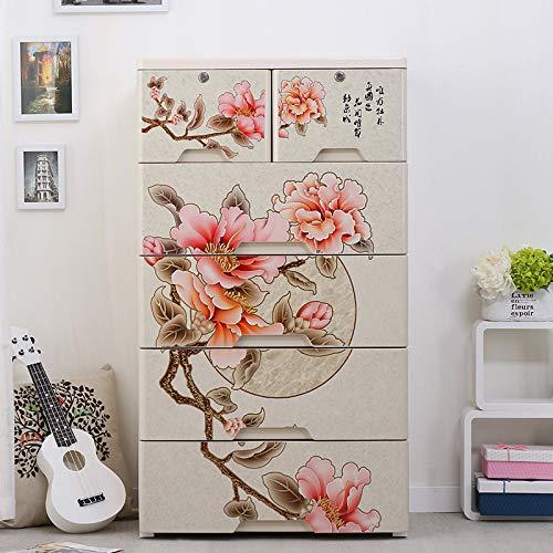 ZYJ Tragbare Garderobe im chinesischen Stil Klassische Pfingstrosenschublade Lagerschrank Haushaltslagerschrank für Kleidung, Spielzeug, Handtücher