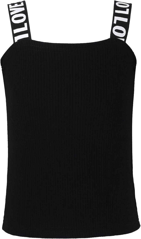 Hansber Kids Girls Summer Crop Top Ribbed Sleeveless Tees Shirts Ballet Yoga Sport Bras Tops Undershirts Activewear