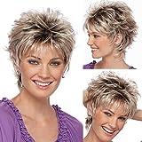 QUICKLYLy Peluca De Moda Corte Pelo Corto Color Rizado Gradiente Pelucas Cortas Sintéticas,Postizos/Pelucas Mujer Extensiones de Cabello Pelo Natural Lace Front