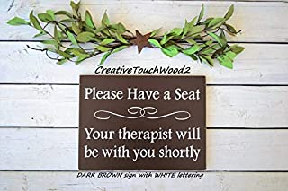 Ssxuxi-Wood Sign Please Have a seat Your Therapist Will be with You shortly 10x7.5 Solid Wood Sign
