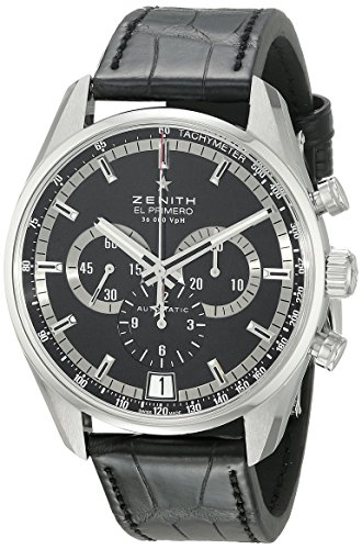 Zenith Men's 03.2040.400/21.c496 El Primero 36'000 VPH Black Sunray Patterned Chronograph Dial Watch