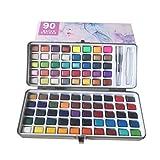 Juego de pintura acuarela sólida 90 colores + 1 pincel de pintura, color metalizado conve...