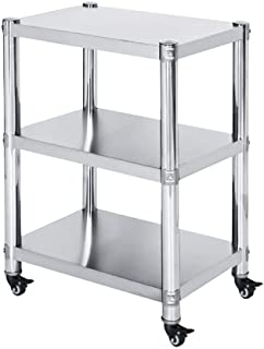 li@ Kitchen Storage Trolley,3 Tier Stainless Steel Shelves with Wheel,Microwave Rack,Multifunction Utility Cart for Home Kitchen Bathroom