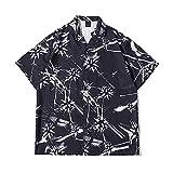 PENNY73 Camisa Hawaiana para Hombre con Botones y Solapa de Moda de Corte Relajado Ropa Deportiva Superior Cómoda y de Secado Rápido,M(165cm65kg)