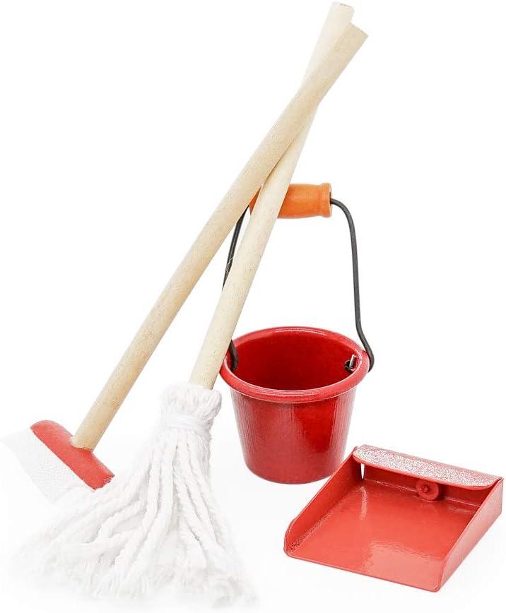 Odoria 1:12 Miniature Broom Mop Bucket Cleaning Supplies Tools Set Dollhouse Furniture Decoration Accessories