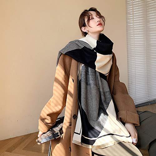 JIAMIN Scarf 2020 Korean Striped Scarf Female Winter Warm Thick Shawl Cashmere Scarfs Shawl Wraps Women Blanket Pashmina Foulard Stole scarf (Color : Black, Size : 65x190cm)