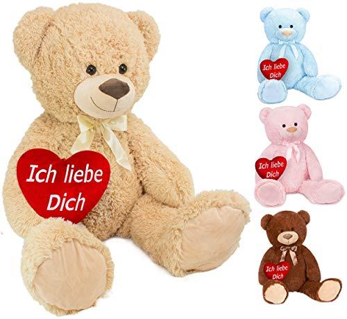 BRUBAKER XXL Teddybär 100 cm groß Beige mit einem Ich Liebe Dich Herz Stofftier Plüschtier Kuscheltier