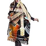 Música Guitarra Imprimir Cachemira Bufanda Mujer Casual Cálido Bufanda Abrigo Chal Grande