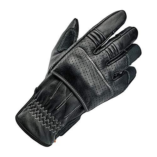 GZM Guantes para Hombre o Moto de Piel Biltwell Borrego Cement Negro Cement aprobados por CE Refuerzos en Nudillos Biker Moto Custom Touchscreen Touch Screen Smartphone Teléfono Talla L