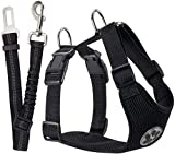 SlowTon Dog Car Harness Seatbelt Set, Pet Vest Harness with Safety Seat Belt for Trip and Daily Use...