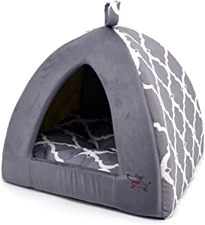 Linen Tent Bed for Pets - Gray Lattice, Medium