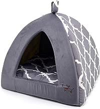 Linen Tent Bed for Pets - Gray Lattice, Medium