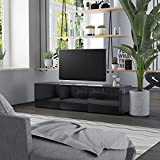 vidaXL Mueble para TV Comedor Centro Televisión Televisor Equipo de Música Armario Bajo Almacenaje Soporte de Aglomerado Negro Brillante 120x34x30cm