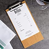 (10-Pack) 8' x 4' Beige Natural Wood Menu Holders/Check Presenters with Clip Sleek, Contemporary Appearance Natural Wood