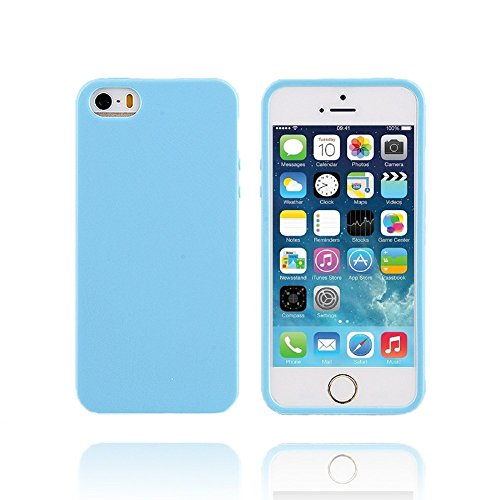iPhone 5/5S Case, iPhone SE Case, FGA Sugar Candy Shockproof Anti-scratch Slim Fit Flexible Soft Solid Color TPU Gel Case Cover for Apple iPhone 5 5S SE (Light Blue)