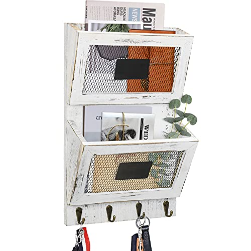 Mail Holder for Wall with Key Hook, Mail Organizer Wall Mount with Key Holder, Hanging Mail Organizer Wall, Key and Mail Holder for Wall Organizers and Storage