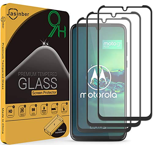 Jasinber 3 Piezas Mica Vidrio Cristal Templado Protector de Pantalla para Moto G8 Plus (Negro)