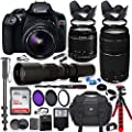 Canon EOS Rebel T6 DSLR Camera with 18-55mm is II Lens Bundle + Canon EF 75-300mm f/4-5.6 III Lens and 500mm Preset Lens + 32GB Memory + Filters + Monopod + Spider Tripod + Professional Bundle by Canon