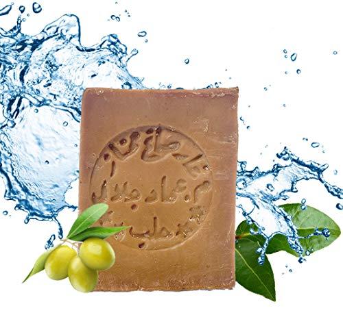Aleppo Seife mit ca. 60% Olivenöl, 40% Lorbeeröl - handgeschnitten - vegan - Naturprodukt - Gewicht: ca. 200 Gramm