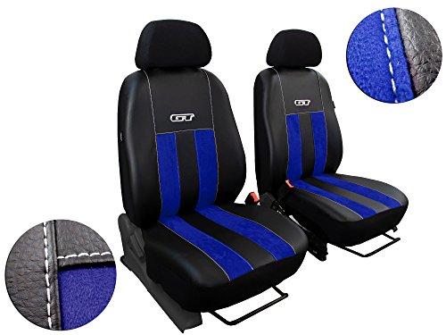 POK-TER-TUNING Vordersitzbezüge - Autositzbezüge - Passend für Opel Astra H. Design ALKANTRA GT mit Kunstleder. Super Qualität, Set 1+1. in Diesem Angebot Blau.