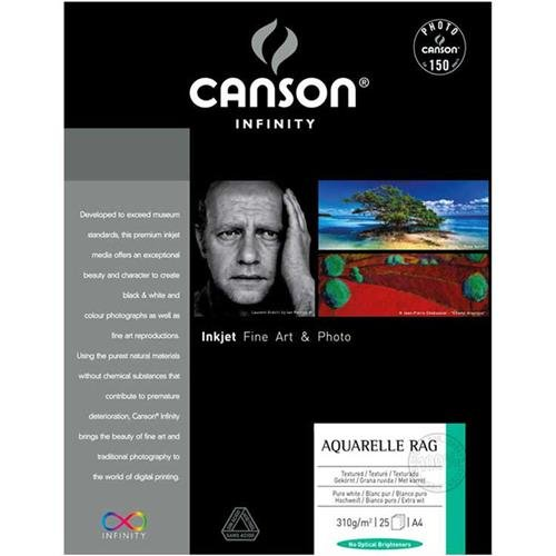 Canson Infinity Aquarelle Rag 310gsm, Natural White Matte Inkjet Paper, A3+, Box of 25 Sheets