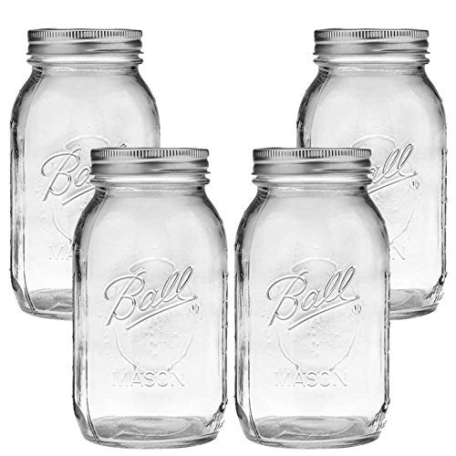 Ball Mason Jar, Clear Glass Ball Collection, Heritage Series, Regular Mouth(Pack of 4)