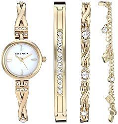 Gold-Tone Swarovski Crystal Accented Watch and Bracelet Set