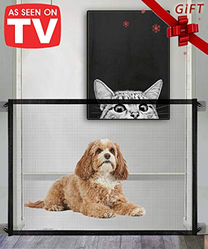 Queenii Magic Gate for Dogs Mesh Pet Safety Gate Portable Folding Safe Guard Install Anywhere Safety Fence for Hall Doorway 41quot x 30quotBlack