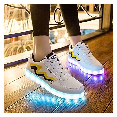 Gettop Zapatos Luminosos -7 Colores con Luces USB Carga Zapatos Deporte del Zapato -Unisex Zapatillas LED para Cumpleaños,Actividades de la Banda,Actuaciones,Halloween(Blanco/Negro)