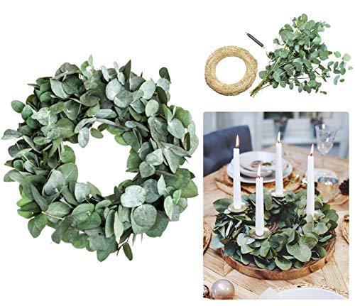 Blumigo Eukalyptuskranz DIY Kit - 30 cm - Adventskranz basteln aus frischem Eukalyptus - Kranz selber binden aus Eukalyptuszweigen
